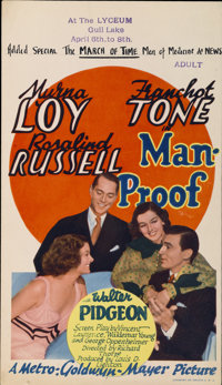 "Man-Proof (MGM, 1938). Midget Window Card (8"" X 14"")"