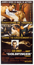"Movie Posters:James Bond, Goldfinger (United Artists, 1964). Three Sheet (41"" X 81""). ..."