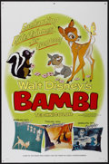 "Movie Posters:Animated, Bambi (Buena Vista, R-1966). One Sheet (27"" X 41"") Style B.Animated...."
