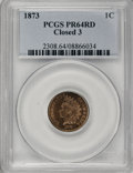 Proof Indian Cents, 1873 1C Closed 3 PR64 Red PCGS....