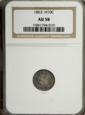 Seated Half Dimes: , 1863 H10C AU58 NGC. NGC Census: (4/101). PCGS Population (3/113).Mintage: 18,000. Numismedia Wsl. Price for NGC/PCGS coin ...
