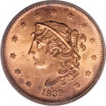 Large Cents, 1839 1C Booby Head MS64 Red PCGS....