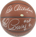 Basketball Collectibles:Balls, Red Auerbach and Bob Cousy Dual Signed Basketball. Looking back atthe onset of the tremendous Boston Celtics dynasty that e...