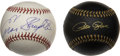 Autographs:Baseballs, Super Sluggers Single Signed Baseballs Lot of 2. Hit King Pete Roseis joined here by Hall of Famer Enos Slaughter as each ...
