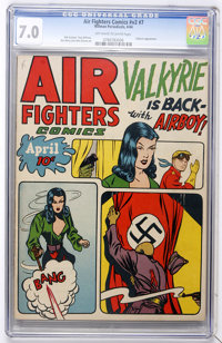 Air Fighters Comics V2#7 (Hillman Fall, 1944) CGC FN/VF 7.0 Off-white to white pages