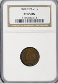 Proof Indian Cents: , 1886 1C Type Two PR65 Brown NGC. NGC Census: (58/36). PCGS Population (34/17). Mintage: 4,290. Numismedia Wsl. Price for NG...