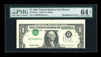 Fr. 1922-A $1 1995 Federal Reserve Note. PMG Choice Uncirculated 64 EPQ