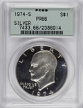 Proof Eisenhower Dollars: , 1974-S $1 Silver PR66 PCGS. PCGS Population (130/271). NGC Census:(6/92). Mintage: 1,306,579. Numismedia Wsl. Price for NG...