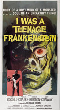 "Movie Posters:Horror, I Was a Teenage Frankenstein (American International, 1957). ThreeSheet (41"" X 81"")...."