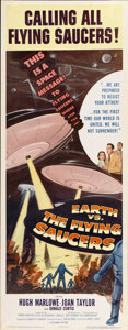 """Movie Posters:Science Fiction, Earth vs. the Flying Saucers (Columbia, 1956). Insert (14"""" X36"""")...."""
