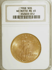 1908 $20 No Motto MS65 NGC. NGC Census: (7703/4195). PCGS Population (13203/3086). Mintage: 4,271,551. Numismedia Wsl. P...