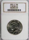 Kennedy Half Dollars: , 1994-P 50C MS66 W NGC. NGC Census: (150/52). PCGS Population(275/146). Mintage: 23,718,000. Numismedia Wsl. Price for NGC/...