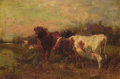 Paintings, CHARLES COLLINS (British, 1837-1921). Cows at Pasture. Oil on canvas. 20 x 30 inches (50.8 x 76.2 cm). Signed lower righ...