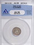 Seated Half Dimes: , 1841-O H10C --Cleaned--ANACS. AU58 Details. NGC Census: (6/12).PCGS Population (2/11). Mintage: 815,000. (#4329). From T...