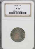 Proof Seated Quarters: , 1868 25C PR66 NGC. NGC Census: (11/0). PCGS Population (2/0).Mintage: 600. Numismedia Wsl. Price for NGC/PCGS coin in PR66...
