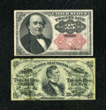Fractional Currency:Fifth Issue, Fr. 1295 25c Third Issue Fine, large tape repair. Fr. 1309 25c Fifth Issue VF.... (Total: 2 notes)