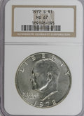 Eisenhower Dollars: , 1972-S $1 Silver MS67 NGC. NGC Census: (707/317). PCGS Population (4574/1344). Mintage: 2,193,056. Numismedia Wsl. Price fo...