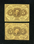 Fractional Currency:First Issue, Fr. 1231 5c First Issue. Two Examples. About New and Fine.... (Total: 2 notes)