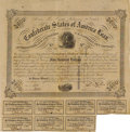 Confederate Notes:Group Lots, Ball 234 Cr. UNL $500 Bond 1863 Fine. This bond has the Houstonoverstamp, pinholes, ink erosion, and an approximate one inc...