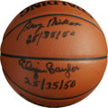 "Basketball Collectibles:Balls, Elgin Baylor and George Mikan ""25/35/50"" Dual-Signed Basketball.Elgin Baylor and George Mikan, two Hall of Fame legends an..."