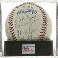 Autographs:Baseballs, 1984 U.S. Olympics Team Signed Baseball PSA NM+ 7.5 . The LosAngeles Games Silver Medal winners celebrate here on this off...