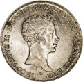 Italy:Tuscany, Italy: Tuscany. Leopold II 5 Paoli 1828-PC, KM-C73, superbly tonedUNC, bold details with faint adjustment marks at the base of the...