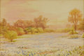 Texas:Early Texas Art - Impressionists, ROBERT JENKINS ONDERDONK (1852-1917). Untitled BluebonnetLandscape. Watercolor. 12in. x 17.5in.. Signed lower left. A dra...