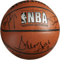 Basketball Collectibles:Balls, 1994 NBA All-Star Game Multi-Signed Basketball. Here twelve NBAplayers who were at the 1994 All-Star Game have checked in...