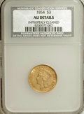 Three Dollar Gold Pieces: , 1854 $3 --Improperly Cleaned--NCS. AU Details. NGC Census: (128/2682). PCGS Population (254/1666). Mintage: 138,618. Numisme...