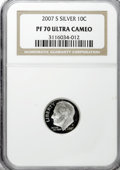 Proof Roosevelt Dimes, 2007-S 10C Silver PR70 Ultra Cameo NGC. PCGS Population (98/0).(#149529)...