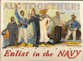 """Military & Patriotic:WWI, World War I Poster: """"All Together! Enlist in the Navy"""", HenryReuterdahl 1917. ..."""