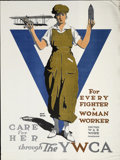 "Military & Patriotic:WWI, World War I Poster: ""For Every Fighter a Woman Worker United WarWork Campaign"", Adolph Treidler...."