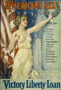 """Military & Patriotic:WWI, World War I Poster: """"Americans All! Victory Liberty Loan"""", HowardChandler Christy 1919...."""