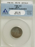 Early Dimes, 1796 10C --Damaged, Cleaned--ANACS. VG10 Details....