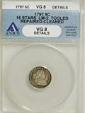 Early Half Dimes, 1797 H10C 16 Stars--Tooled, Repaired, Cleaned--ANACS. VG8Details....