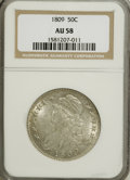 Bust Half Dollars, 1809 50C Normal Edge AU58 NGC....