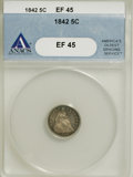 Seated Half Dimes: , 1842 H10C XF45 ANACS. NGC Census: (1/129). PCGS Population (6/123).Mintage: 815,000. Numismedia Wsl. Price for NGC/PCGS co...