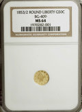 California Fractional Gold, 1853/2 50C Liberty Round 50 Cents, BG-409, R.3, MS64 NGC....