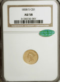 Gold Dollars, 1858-S G$1 AU58 NGC. CAC....