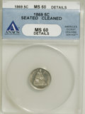 Seated Half Dimes: , 1869 H10C --Cleaned, Scratched--ANACS. MS60 Details. NGC Census:(2/75). PCGS Population (5/74). Mintage: 208,000. (#4394)...