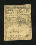 Colonial Notes:Continental Congress Issues, Continental Currency February 17, 1776 $1/2 Fine....