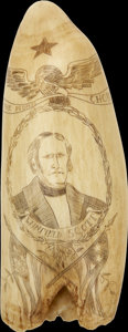 Political:3D & Other Display (pre-1896), Winfield Scott: Rare Political Whale Tooth Scrimshaw....