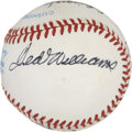 Autographs:Baseballs, 1988 Hall of Fame Induction Multi-Signed Baseball with TedWilliams. A total of nine inducted members of Cooperstown's Hall...