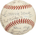 Autographs:Baseballs, 1948 Philadelphia Athletics Team Signed Baseball. From one of his final seasons as the skipper of the Philadelphia Athletics...