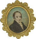 Political:Small Miscellaneous (pre-1896), Daniel Webster: Lovely Circa 1830s Brooch with Hand-Colored Portrait....