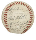 Autographs:Baseballs, 1943 Detroit Tigers Team Signed Baseball. A total of 26 members ofthe 1943 Detroit Tigers have made their way here to the ...