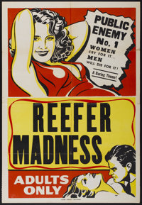 "Reefer Madness (Motion Picture Ventures, R-1950s). One Sheet (28"" X 41""). Cult Classic"