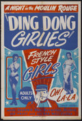 """Movie Posters:Sexploitation, Ding Dong Girlies, Night at the Moulin Rouge (Unknown, 1951). OneSheet (28"""" X 41""""). Sexploitation...."""