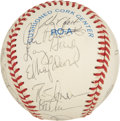 Autographs:Baseballs, 1996 Texas Rangers Team Signed Baseball. On the strength ofsluggers Juan Gonzalez, Ivan Rodriguez and Rusty Greer, the 199...
