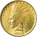 Indian Eagles, 1908 $10 No Motto MS65 PCGS....